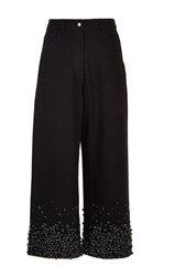 Tibi Embroidered Denim Cropped Jeans