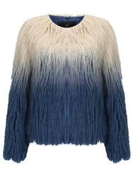 Unreal Fur Pastorale Ombre Jacket Champagne Midnight Blue