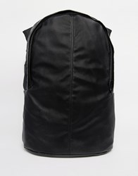 Asos Backpack In Black Faux Leather With Double Pocket Black