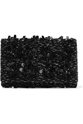 Oscar De La Renta Embellished Satin And Suede Clutch Black