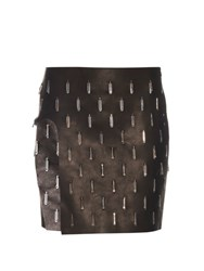 Anthony Vaccarello Open Leg Embellished Leather Skirt Black