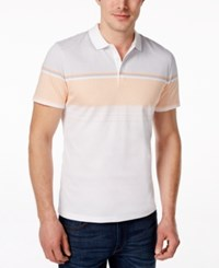 Alfani Men's Monroe Striped Chest Polo Only At Macy's Peachy Keen