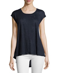 Joan Vass Drop Shoulder Scoop Neck Tee Seaport Navy