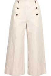 Sonia Rykiel Cropped Linen And Cotton Blend Wide Leg Pants White