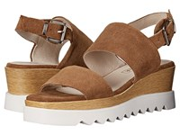 Sol Sana Traci Wedge Cognac Suede Women's Wedge Shoes Brown