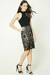 Forever 21 Crochet Lace Pencil Skirt Black Nude