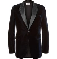 Saint Laurent Blue Satin Trimmed Velvet Tuxedo Jacket Midnight Blue