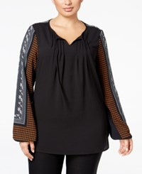 Alfani Plus Size Printed Peasant Blouse Only At Macy's Abstract Houndstooth