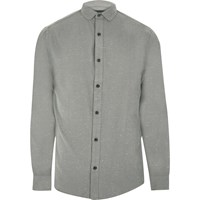 Only And Sons River Island Mens Grey Smart Flecked Shirt