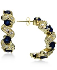 Giani Bernini Blue And White Cubic Zirconia Swirl Hoop Earrings In 18K Gold Plated Sterling Silver Only At Macy's