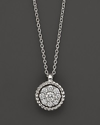 Bloomingdale's Diamond Cluster Pendant Set In 14K White Gold 0.20 Ct. T.W. No Color