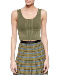 Ohne Titel Sleeveless Zip Front Crop Top Olive Green