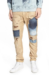 Prps 'Titania' Slim Fit Denim Patchwork Chinos Khaki