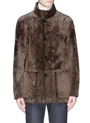 Armani Collezioni Reversible Shearling Leather Coat Brown