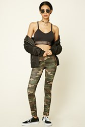 Forever 21 Nyc Camo Leggings Olive Black
