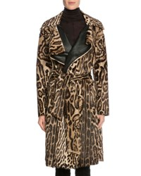 Tom Ford Leopard Print Fur Wrap Coat Dark Brown Beige Dark Brown And Beig