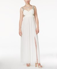 Trixxi Juniors' Jeweled Ruched Empire Gown