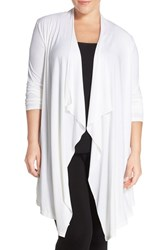 Plus Size Women's Barefoot Dreams 'Luxe Milk' Jersey Cardigan Pearl