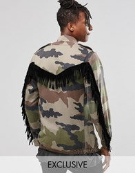 Reclaimed Vintage Military Jacket With Fringing Khaki Green