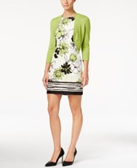 Jessica Howard Petite Bolero Shrug And Printed Shift Dress Lime