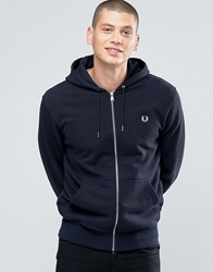 Fred Perry Hoodie With Zip Through In Navy Navy