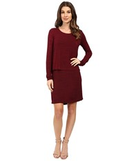 Mod O Doc Space Dye Rayon Spandex Jersey Long Sleeve T Shirt Overlay Dress Chianti Women's Dress Red