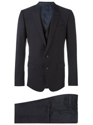Dolce And Gabbana Three Piece Micro Dots Suit Blue