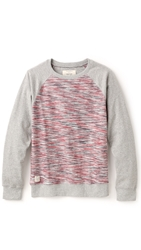 Native Youth Reverse Space Dye Pullover Grey Red