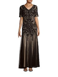 Adrianna Papell Short Sleeve Sequined Pleated Gown Black