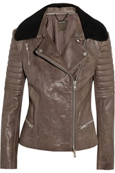 Muubaa Santara Shearling Trimmed Leather Biker Jacket