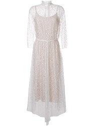Scanlan Theodore Lace Pleated Dress White