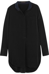 By Malene Birger Kathleen Two Tone Silk Crepe De Chine Blouse Black