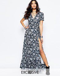 Reclaimed Vintage Maxi Tea Dress With Wrap Front In Organic Floral Print Grey