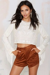 Nasty Gal Bohemian Bones Witchy Woman Embroidered Crop Top