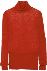 Stella Mccartney Open Knit Alpaca Blend Turtleneck Sweater