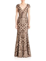 David Meister Printed Fit And Flare Gown Gold Black