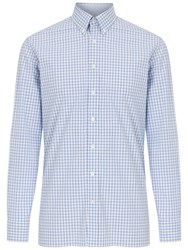 Hackett London Triple Check Shirt Blue White