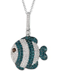 Le Vian Exotics Diamond Fish Pendant Necklace 7 8 Ct. T.W. In 14K White Gold