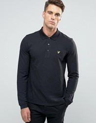 Lyle And Scott Long Sleeve Pique Polo Eagle Logo In Black Black