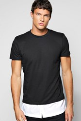 Boohoo Layer T Shirt With Woven Hem Black