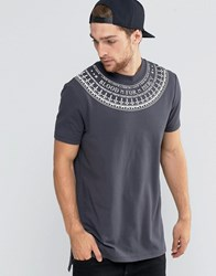Asos Super Longline T Shirt With Neck Print And Side Splits And Dropped Hem Ebony Grey