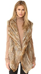 Jocelyn Sheared Asymmetrical Rabbit Vest Natural Heather