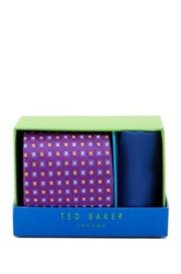 Ted Baker Square Ava Neat Silk Tie And Handkerchief Multi