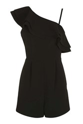 Topshop Ruffle Playsuit Black