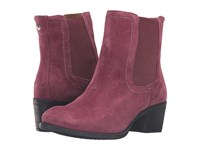 Hush Puppies Landa Nellie Wine Suede Women's Pull On Boots Burgundy