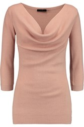 Donna Karan Draped Cashmere Wool And Silk Blend Sweater Pink