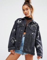 The Ragged Priest Boyfriend Denim Jacket With Hand Painted Motifs Charcoal Black