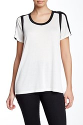 Vince Colorblock Scoop Neck Blouse White