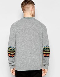 Lyle And Scott Fairilse Jumper With Elbow Patches Grey