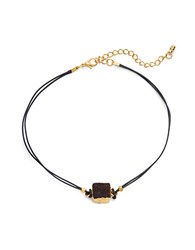 Design Lab Lord And Taylor Druzy Pendant Corded Choker Necklace Black
